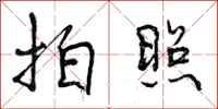 书法字典拍照两字怎么写 拍照的行书书法